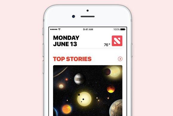 Nueva interfaz de iOS muestra feed de Noticias