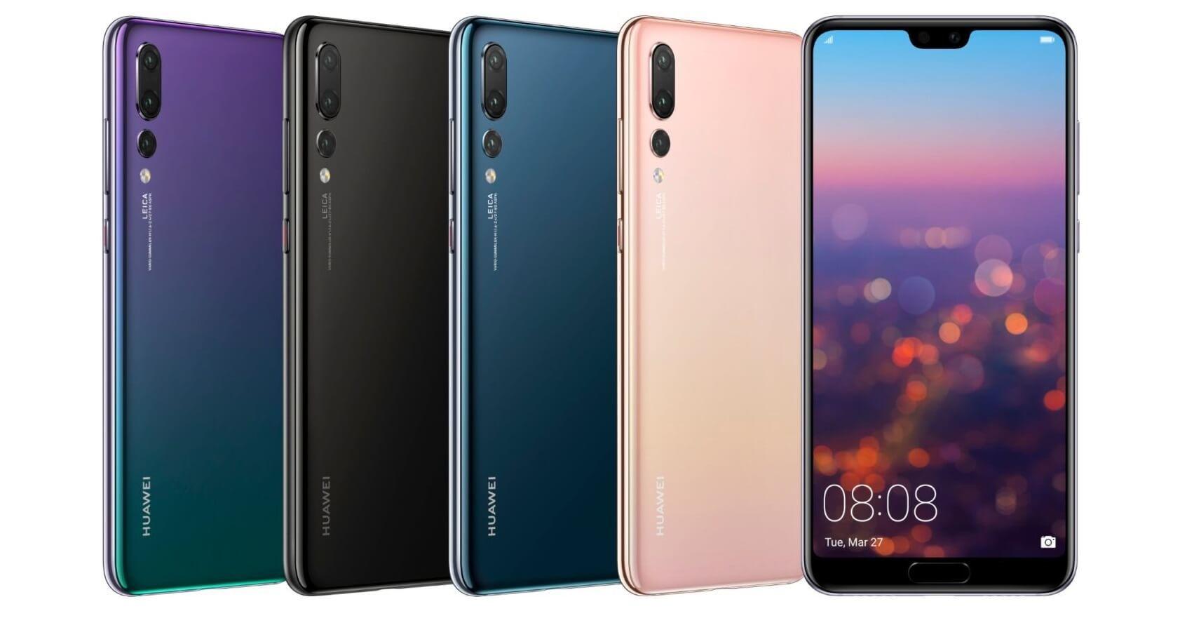 telefonos Huawei formados en pila.